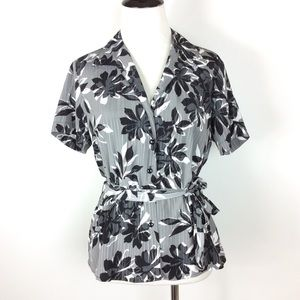 Covington Hawaiian Floral Waist Tie Blouse Size MP
